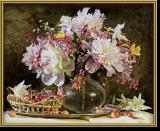 Malen nach Zahlen - Blumenstrauß mit Kirschen