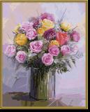 Malen nach Zahlen - Rosenstrauß in Pastell