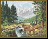 Malen nach Zahlen - Friedvolle Berglandschaft