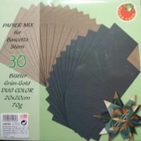 Papiermix für Bascetta Stern - Grün-Gold