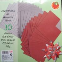 Papiermix für Bascetta Stern - Rot-Silber
