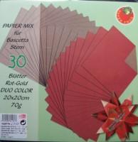 Papiermix für Bascetta Stern - Rot-Gold