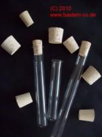 Reagenzglas mit Korken - 16 cm - mit Rand