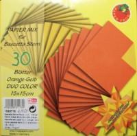 Papiermix für Bascetta Stern - Glanzpapier orange gestrichelt